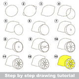 Drawing tutorial. How to draw a Lemon. Step by step drawing tutorial. Visual game for kids. How to draw a Lemon Royalty Free Stock Photos