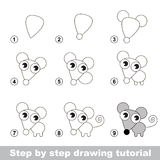 Drawing tutorial. How to draw a Little Mouse. Step by step drawing tutorial. Visual game for kids. How to draw a Little Mouse Royalty Free Stock Images