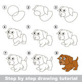 Drawing tutorial. How to draw a Little puppy Stock Image
