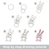 Drawing tutorial. How to draw a Little Rabbit Royalty Free Stock Photos