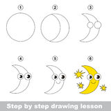 Drawing tutorial. How to draw a Moon. Step by step drawing tutorial. Vector kid game. How to draw a Moon Stock Image