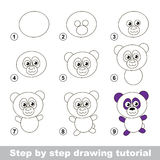 Drawing tutorial. How to draw a Panda. Step by step drawing tutorial. Visual game for kids. How to draw a Panda Royalty Free Stock Photo