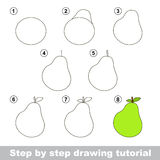 Drawing tutorial. How to draw a Pear. Step by step drawing tutorial. Visual game for kids. How to draw a Pear Stock Photos