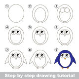 Drawing tutorial. How to draw a Penguin. Step by step drawing tutorial. Visual game for kids. How to draw a Penguin Stock Image