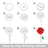 Drawing tutorial. How to draw a Poppy. Step by step drawing tutorial. Vector kid game. How to draw a Poppy Royalty Free Stock Image
