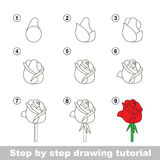 Drawing tutorial. How to draw a Rose. Step by step drawing tutorial. Vector kid game. How to draw a Rose Stock Photography