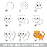 Drawing tutorial. How to draw a Small Kitten Stock Photos