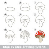 Drawing tutorial. How to draw a Stoadtool. Step by step drawing tutorial. Visual game for kids. How to draw a Stoadtool Royalty Free Stock Image
