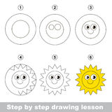 Drawing tutorial. How to draw a Sun Stock Images