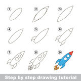 Drawing tutorial. How to draw a Toy Rocket. Step by step drawing tutorial. Visual game for kids. How to draw a Toy Rocket Stock Photography