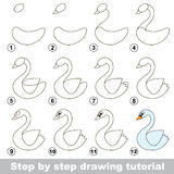 Drawing tutorial. How to draw a White Swan. Step by step drawing tutorial. Visual game for kids. How to draw a White Swan Stock Image