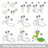 Drawing tutorial. The Mantis. Royalty Free Stock Image