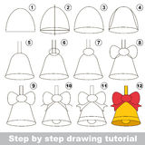 Drawing tutorial for preschool children. Kid game to develop drawing skill with easy gaming level for preschool kids, drawing educational tutorial for Bell Stock Image