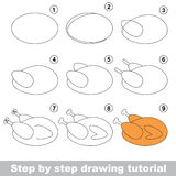 Drawing tutorial for preschool children. Kid game to develop drawing skill with easy gaming level for preschool kids, drawing educational tutorial for Grilled Stock Photography