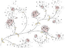 Drawing twig with roses. Affectionate drawing twig with roses with blots Stock Photography
