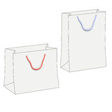 Drawing of two white shopping paper bags Stock Photography
