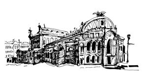 Drawing of Ukraine Kyiv national opera and ballet theatre house Royalty Free Stock Images