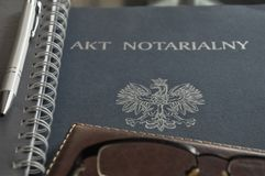 Drawing up notarial act for customers. Drawing up notarial act for customer stock photography