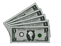 Drawing of US Dollar Bills stock image