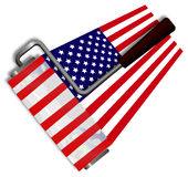 Drawing USA flag paint roller Stock Photo