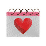 Drawing valentine day calendar love heart date. Vector illustration eps 10 Royalty Free Stock Photos