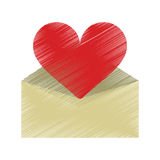 Drawing valentines day romantic mail heart envelope open. Vector illustration eps 10 Stock Photos