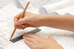 Drawing and various tools Royalty Free Stock Image