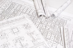 Drawing and various tools. Close-up Royalty Free Stock Image