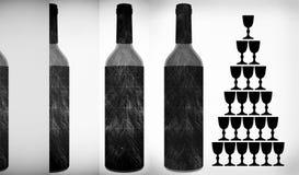 Wine Bottles & Glasses  shape Royalty Free Stock Image