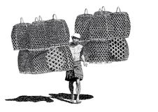 Drawing vendor chicken baskets. Black and white handmade drawing of indonesian man carrying woven palm leave chicken baskets to sale Stock Image
