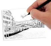 Drawing venice. Artist drawing landscape of venice royalty free stock photography