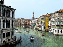 Drawing of Venice. Water road with boats royalty free stock images