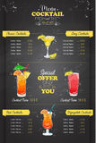 Drawing vertical cocktail menu design Royalty Free Stock Image