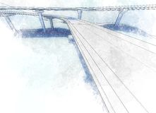 Drawing viaduct. Sketch of the bridge project, in pencil stock illustration