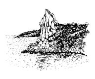 Drawing view of the rock Cat  illustration Stock Images