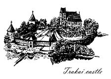 Drawing view of Trakai castle hand-drawn  illustration Stock Image