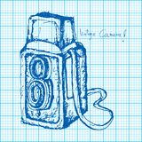 Drawing of vintage camera on graph paper vector Royalty Free Stock Images