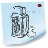 Drawing of vintage camera on sticky paper vector Stock Image