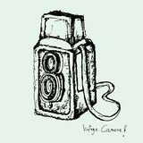 Drawing of vintage camera vector Royalty Free Stock Image