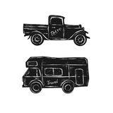Drawing of vintage cars. Illustration - Drawing Stock Image