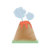 drawing volcan eruption lava mountain cloud Stock Photography