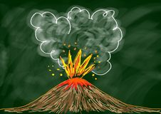 Drawing of volcano Stock Image