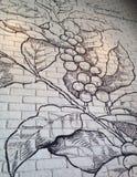 Drawing on wall. Drawing on running bond brick wall Stock Photos