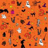 Drawing a wallpaper on the theme of Halloween Stock Photos