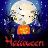 Drawing a wallpaper on the theme of Halloween.  Stock Photography