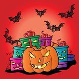 Drawing a wallpaper on the theme of Halloween.  Royalty Free Stock Images