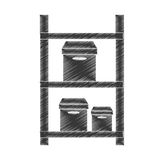 Drawing warehouse shelve boxes cargo pictogram. Illustration eps 10 Royalty Free Stock Photography