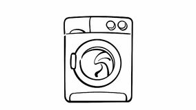 Drawing of washing machine on white stock footage
