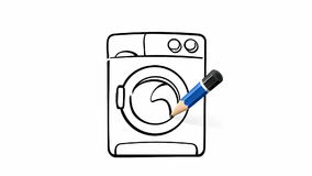 Drawing of washing machine on white with pencil stock footage