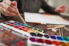 Drawing in water-colors Stock Image
